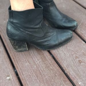 All Saints Black Leather Ankle Boots Size 8.5